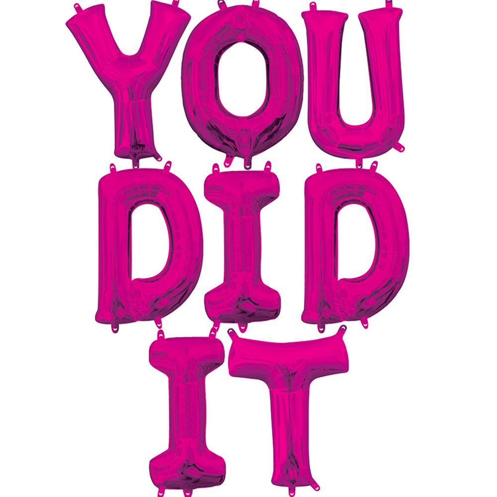 Air-Filled Pink You Did It Letter Balloon Kit Image #1