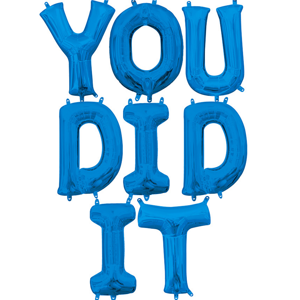 Air-Filled Blue You Did It Letter Balloon Kit Image #1