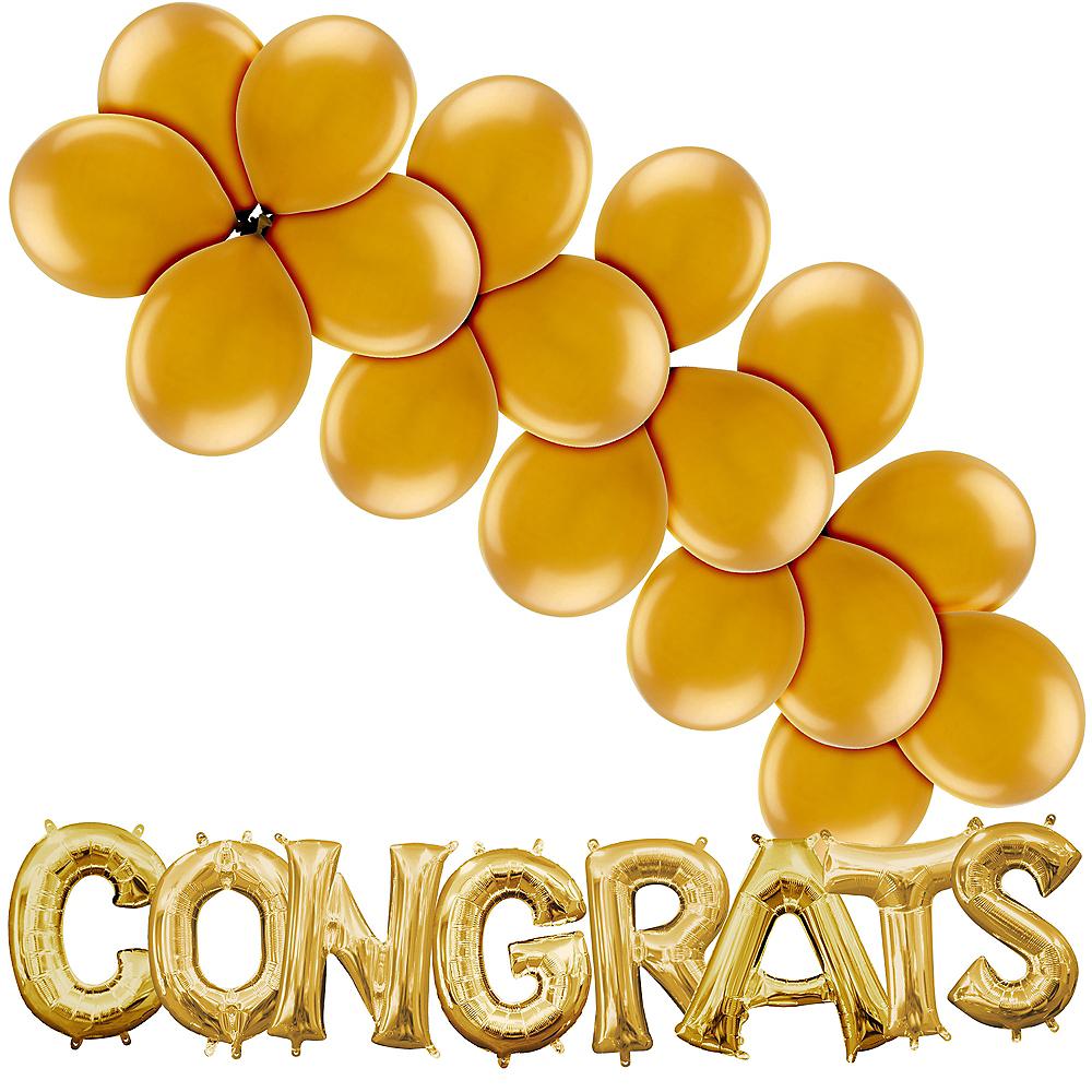 Gold Congrats Air-Filled Balloon Kit Image #1