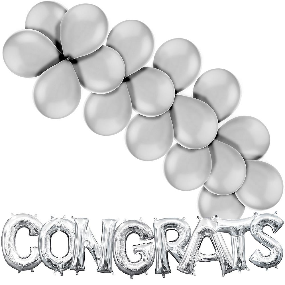 Silver Congrats Balloon Kit Image #1