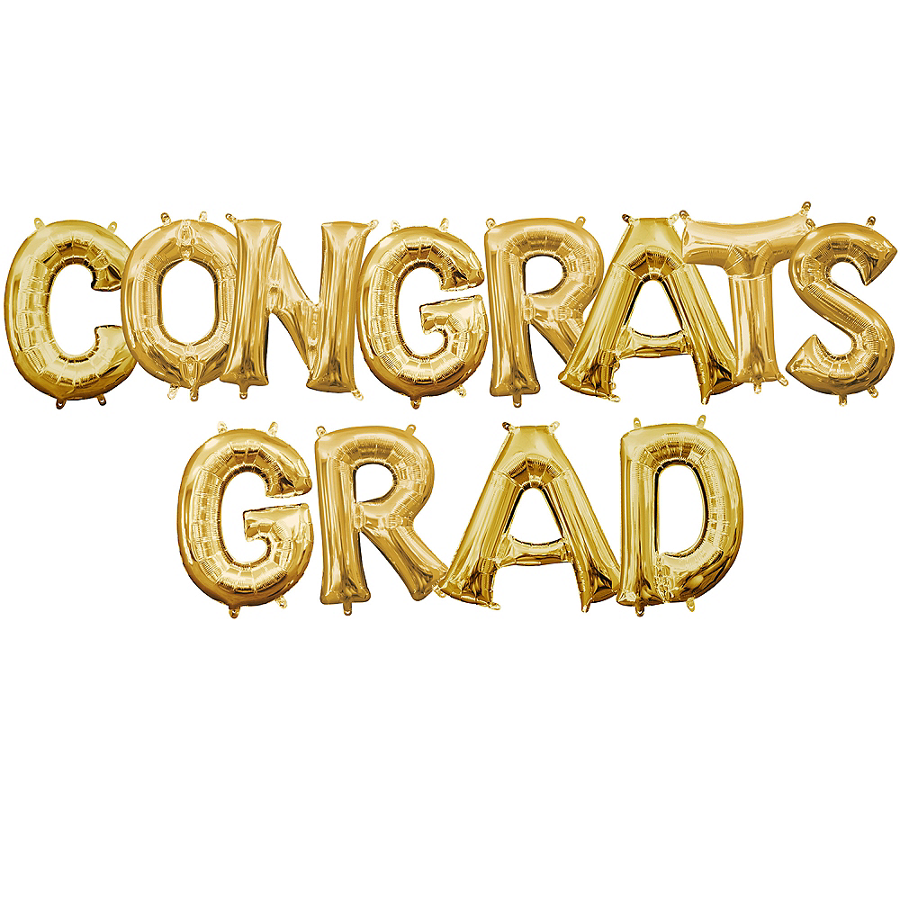 Air-Filled Gold Congrats Grad Letter Balloon Kit Image #1