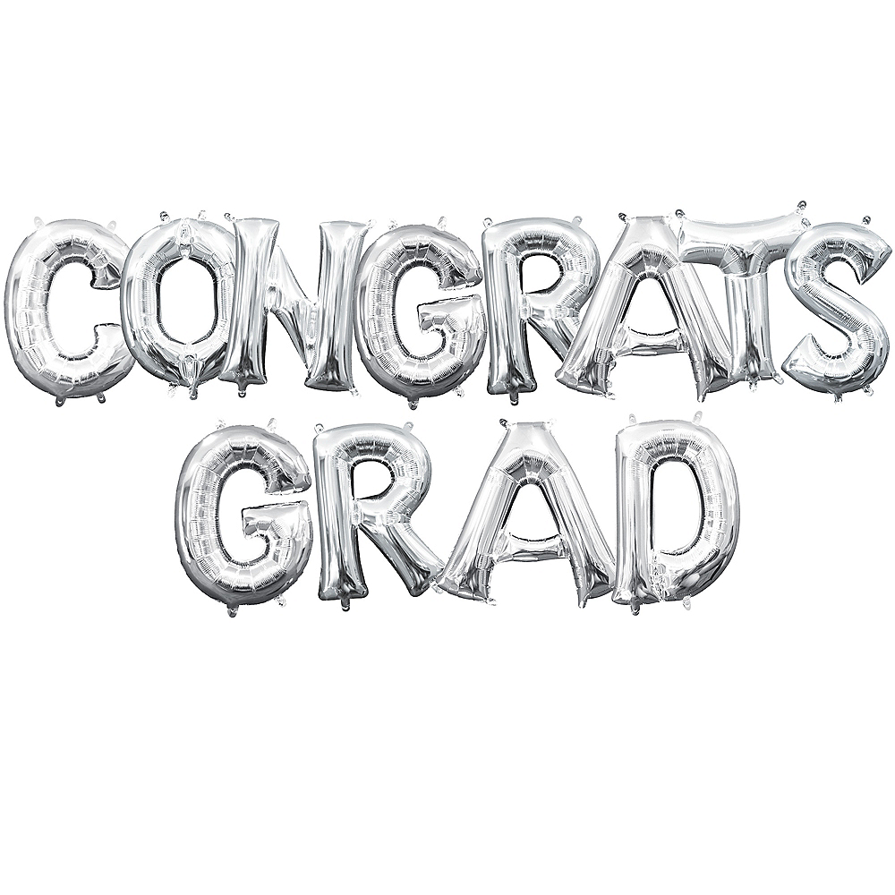 Air-Filled Silver Congrats Grad Letter Balloon Kit Image #1