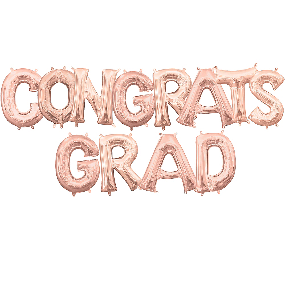 Air-Filled Rose Gold Congrats Grad Letter Balloon Kit Image #1