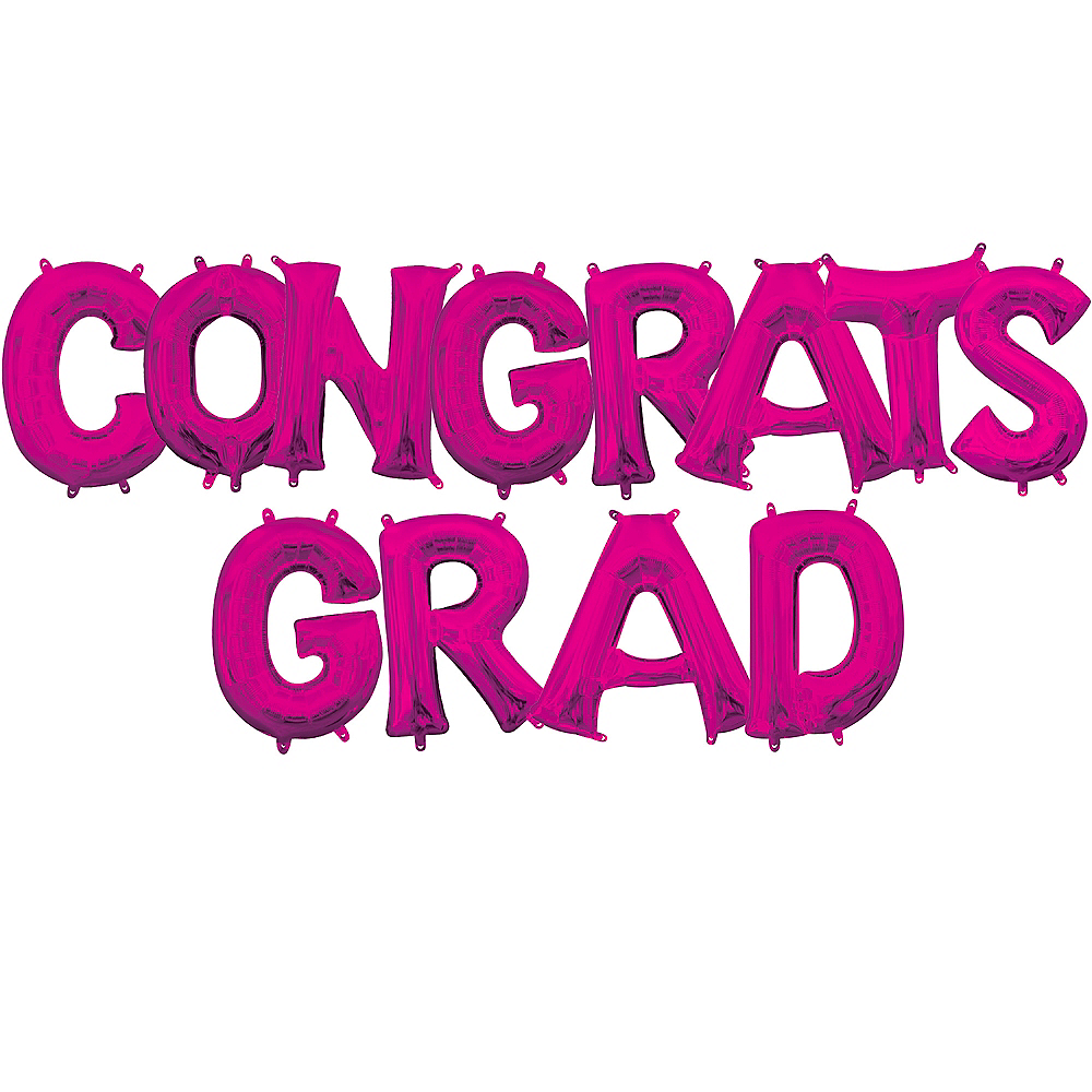 Air-Filled Pink Congrats Grad Letter Balloon Kit Image #1