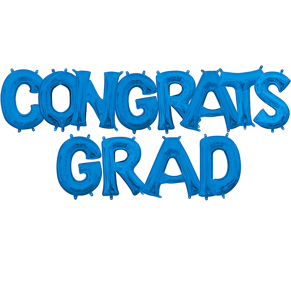Air-Filled Blue Congrats Grad Letter Balloon Kit Image #1