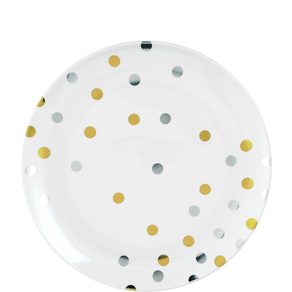 Metallic Gold & Silver Confetti Premium Plastic Dessert Plates 20ct Image #1