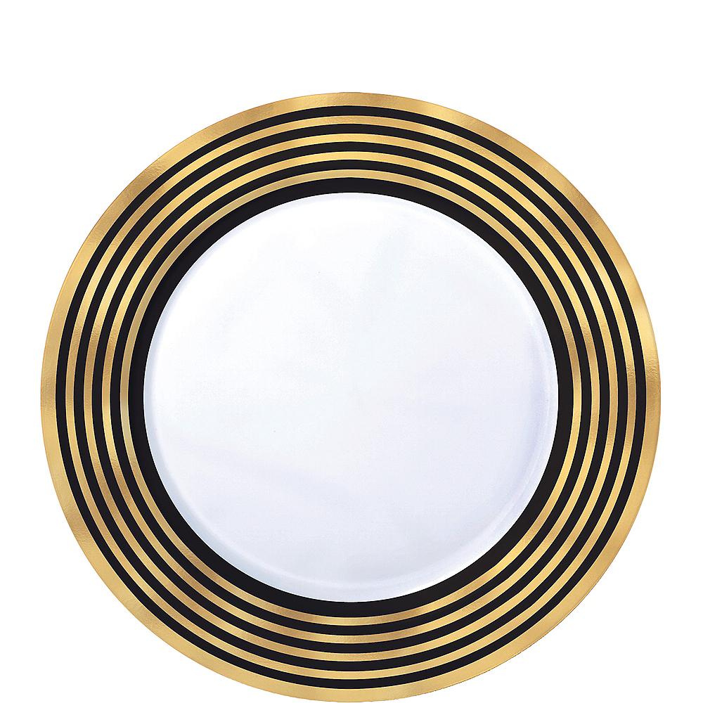 Black & Metallic Gold Stripe Premium Plastic Dessert Plates 20ct Image #1
