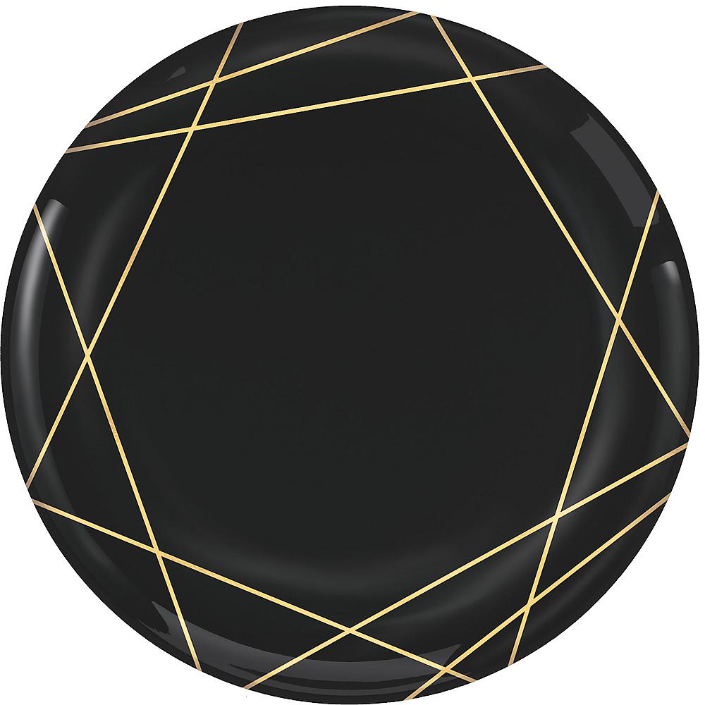 Black Metallic Gold Line Premium Plastic Dinner Plates 10ct Image #1