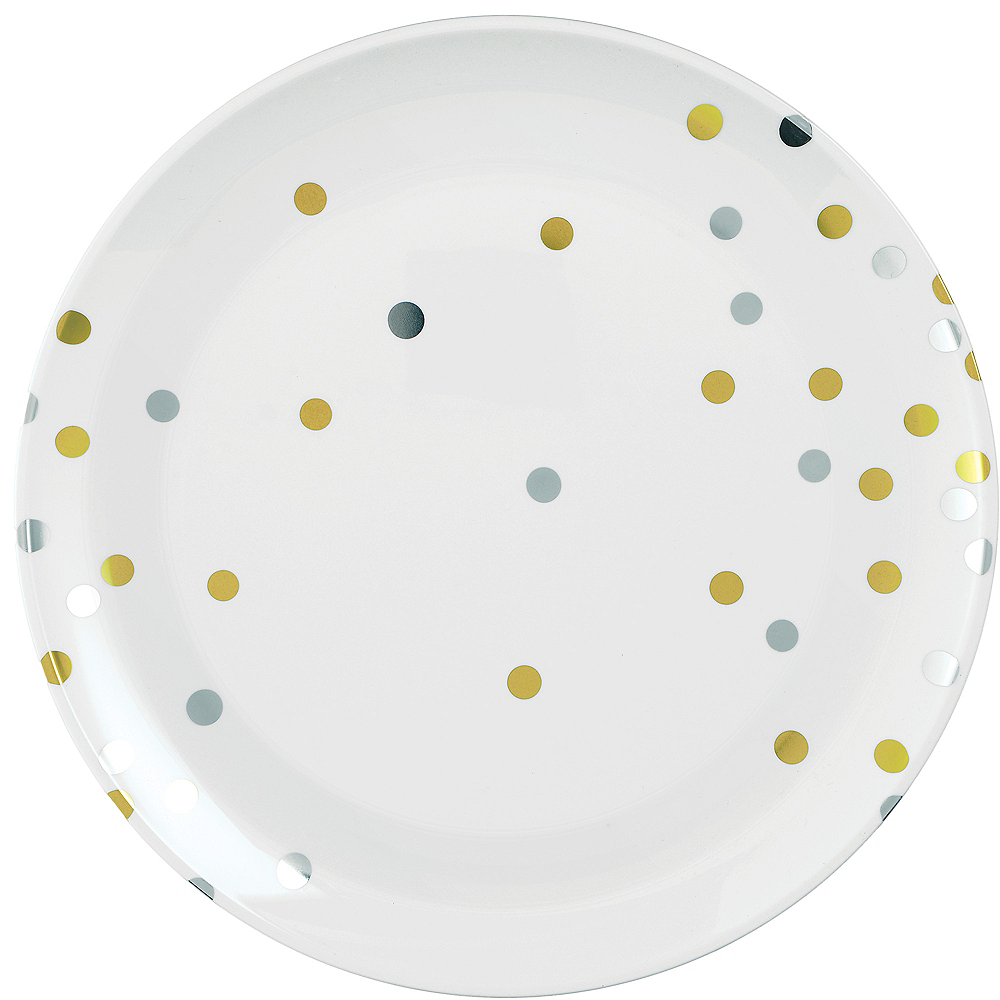 Nav Item for Metallic Gold & Silver Confetti Premium Plastic Dinner Plates 10ct Image #1
