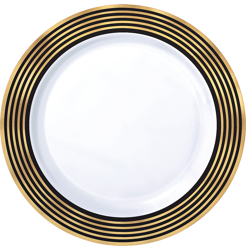 Nav Item for Black & Metallic Gold Stripe Premium Plastic Dinner Plates 10ct Image #1