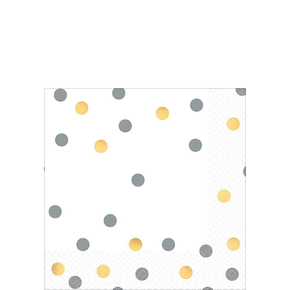 Metallic Gold & Silver Confetti Premium Beverage Napkins 16ct Image #1