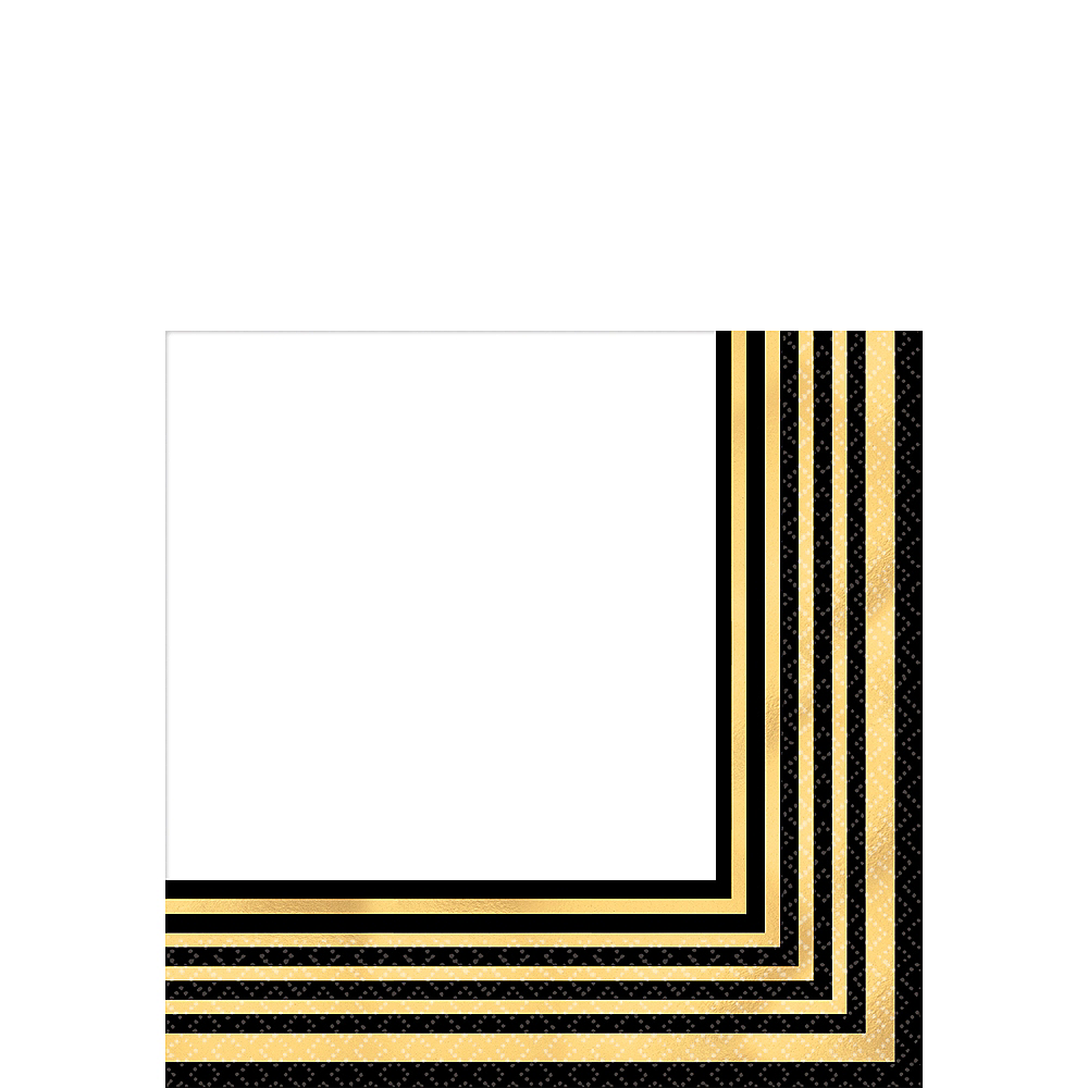 Black & Metallic Gold Stripe Premium Beverage Napkins 16ct Image #1