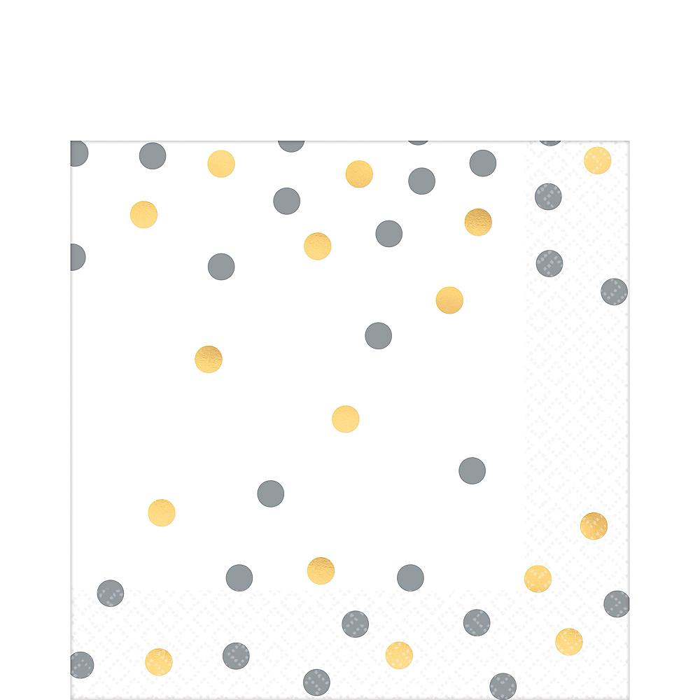Nav Item for Metallic Gold & Silver Confetti Premium Lunch Napkins 16ct Image #1
