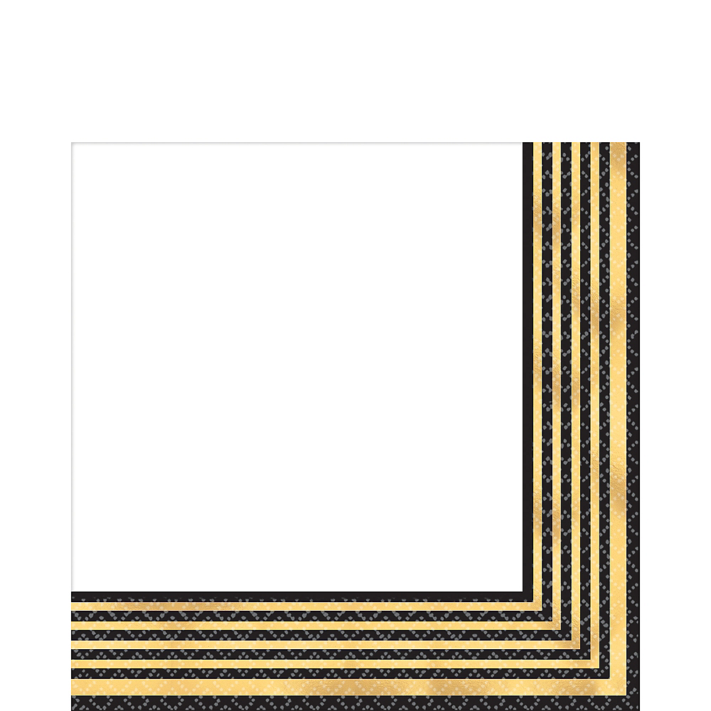 Black & Metallic Gold Stripe Premium Lunch Napkins 16ct Image #1