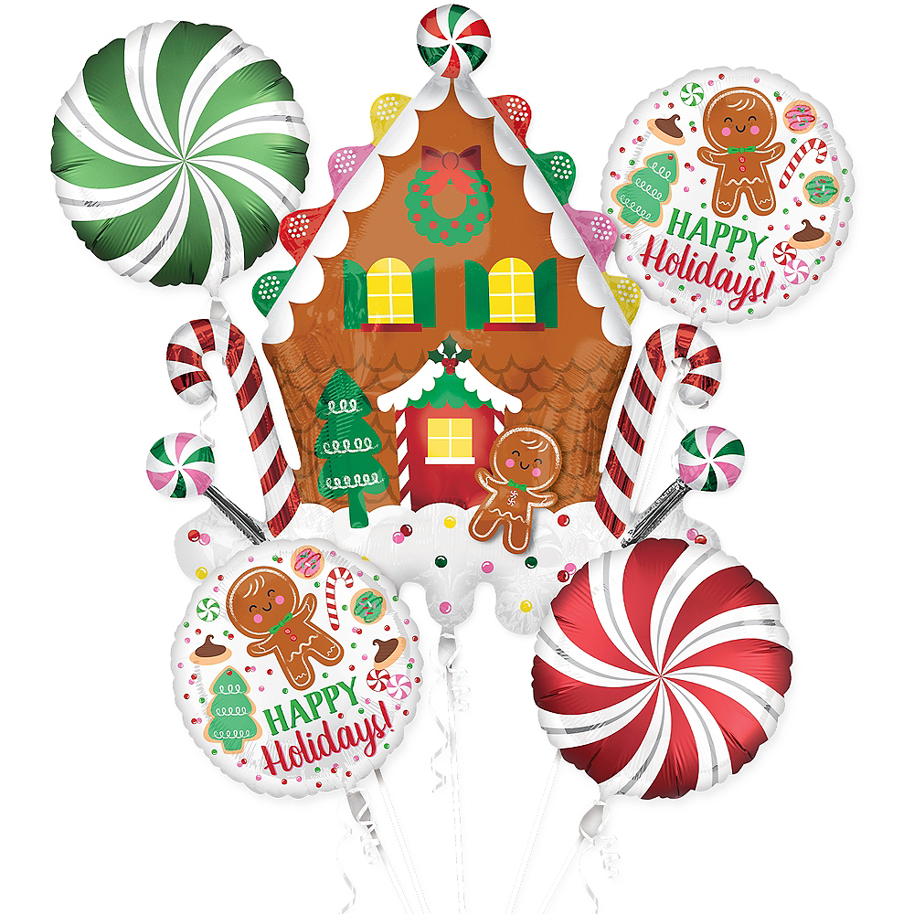 Christmas Gingerbread Balloon Bouquet 5pc Image #1