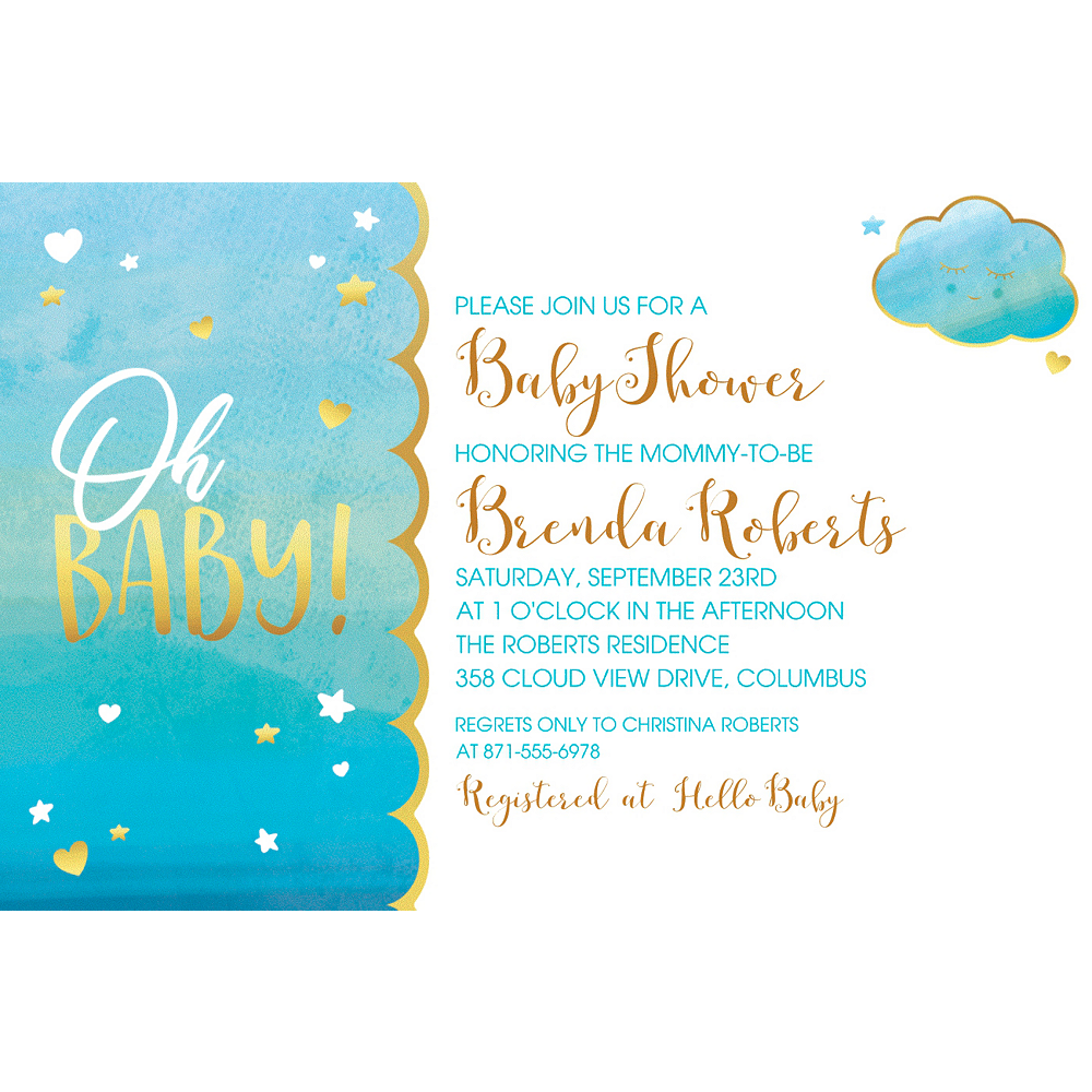 Custom Oh Baby Boy Invitation  Image #1