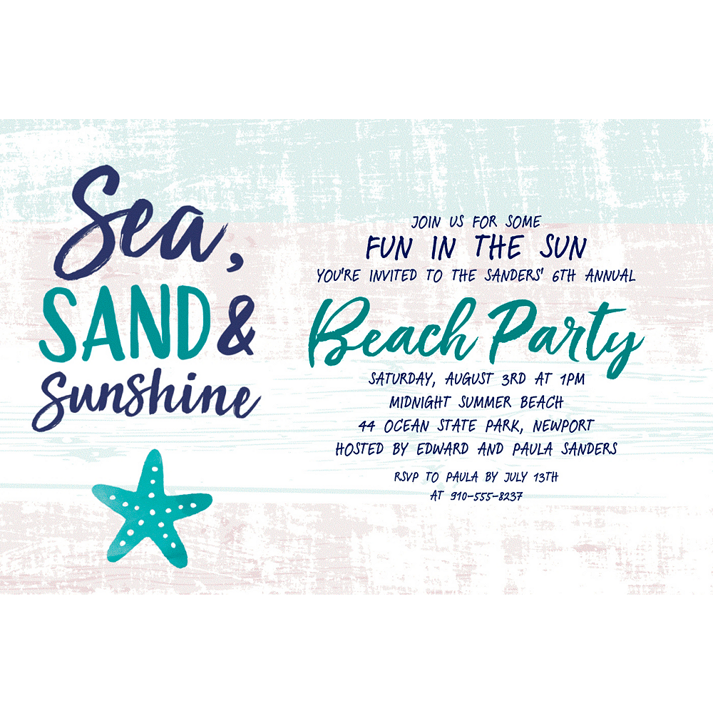 Custom Sea, Sand & Sun Invitation  Image #1
