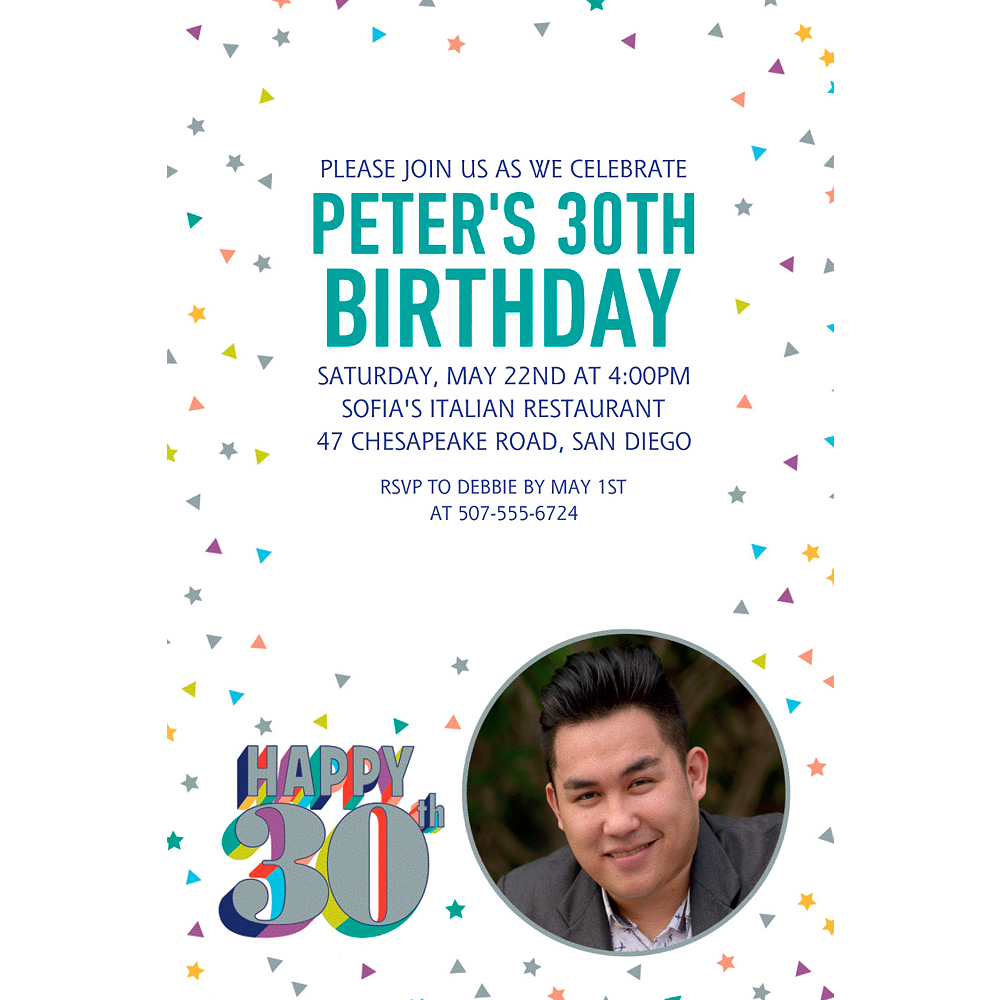 Custom Here's to Your Birthday 30 Photo Invitation Image #1