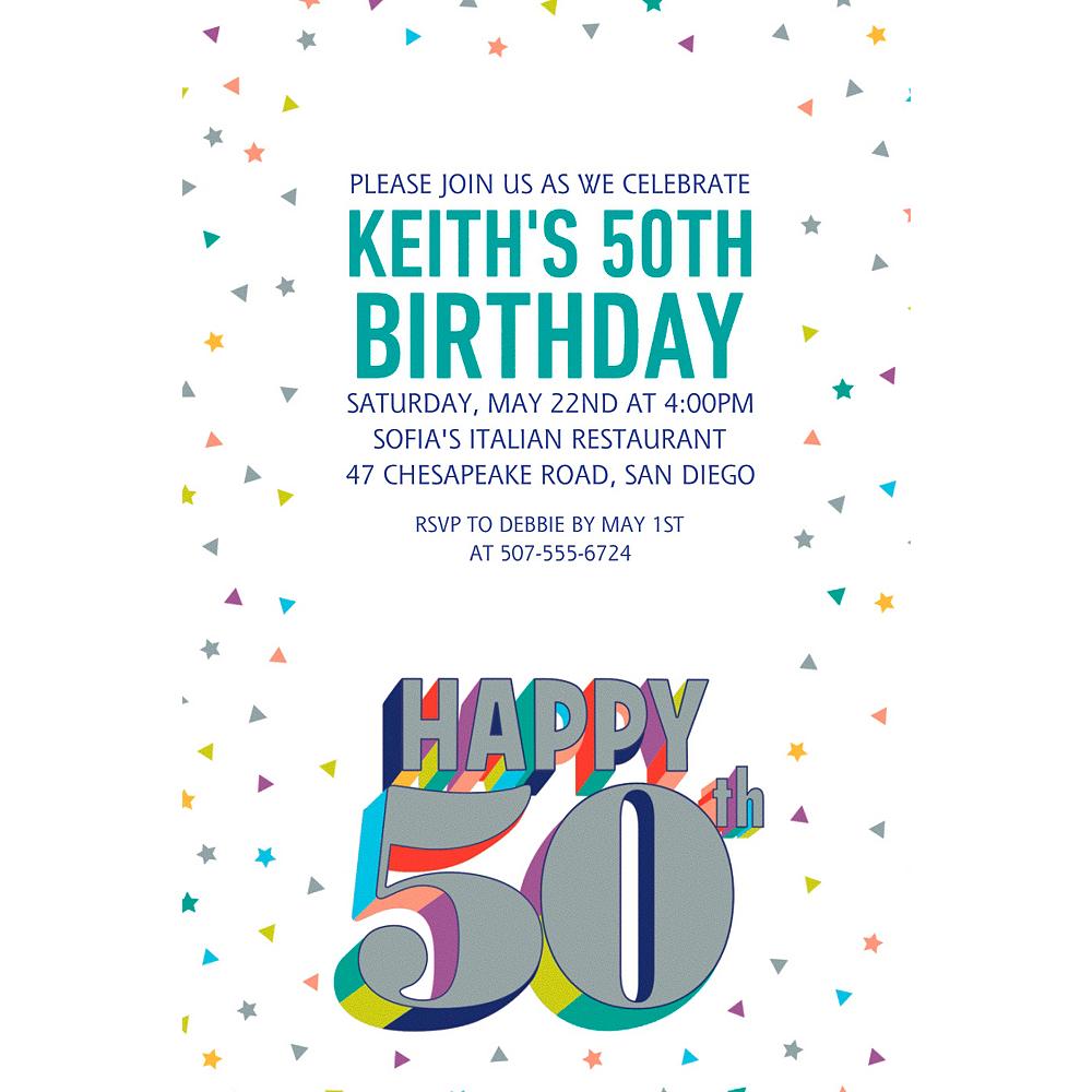 Custom Here's to Your Birthday 50 Invitation Image #1