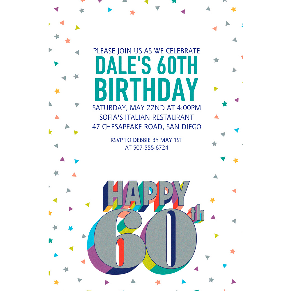 Custom Here's to Your Birthday 60 Invitation  Image #1