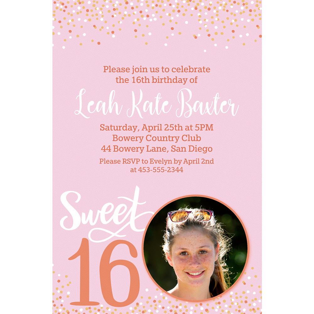 Custom Blush Sweet 16 Photo Invitation Image #1