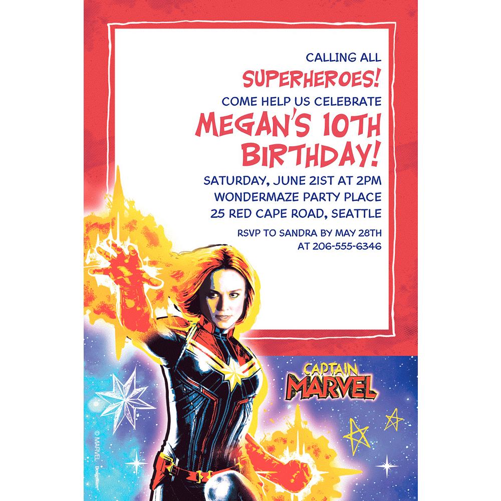 Custom Captain Marvel Invitation Image #1