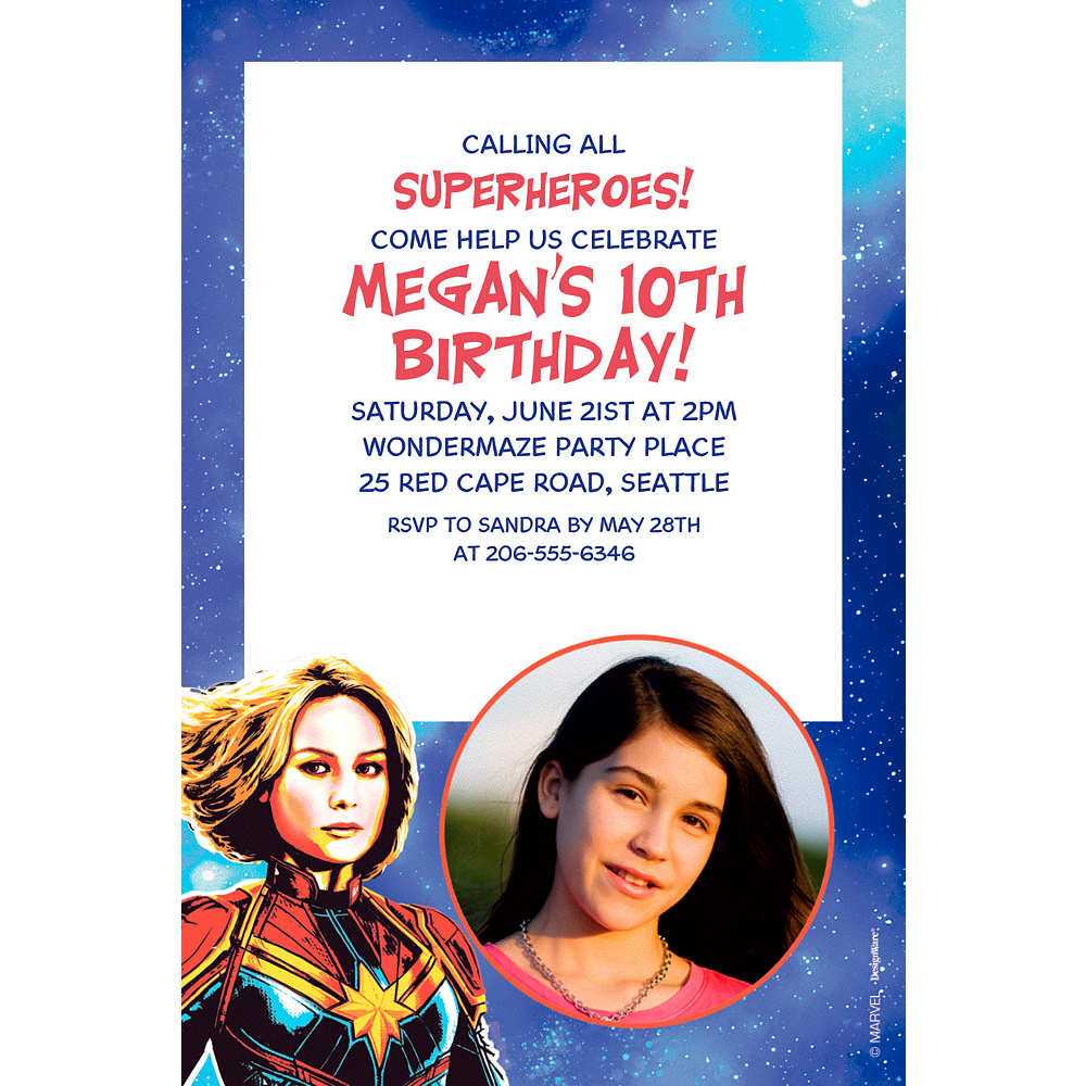 Custom Captain Marvel Photo Invitation Image #1