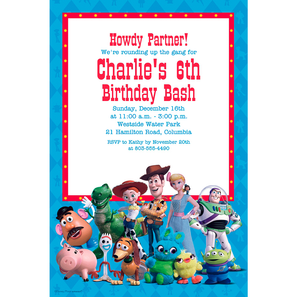 Custom Toy Story 4 Invitation Image #1