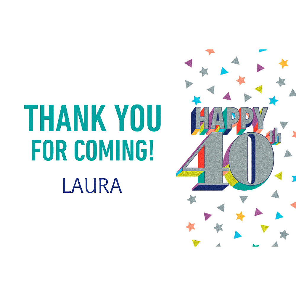 Custom Here's to Your Birthday 40 Thank You Note Image #1