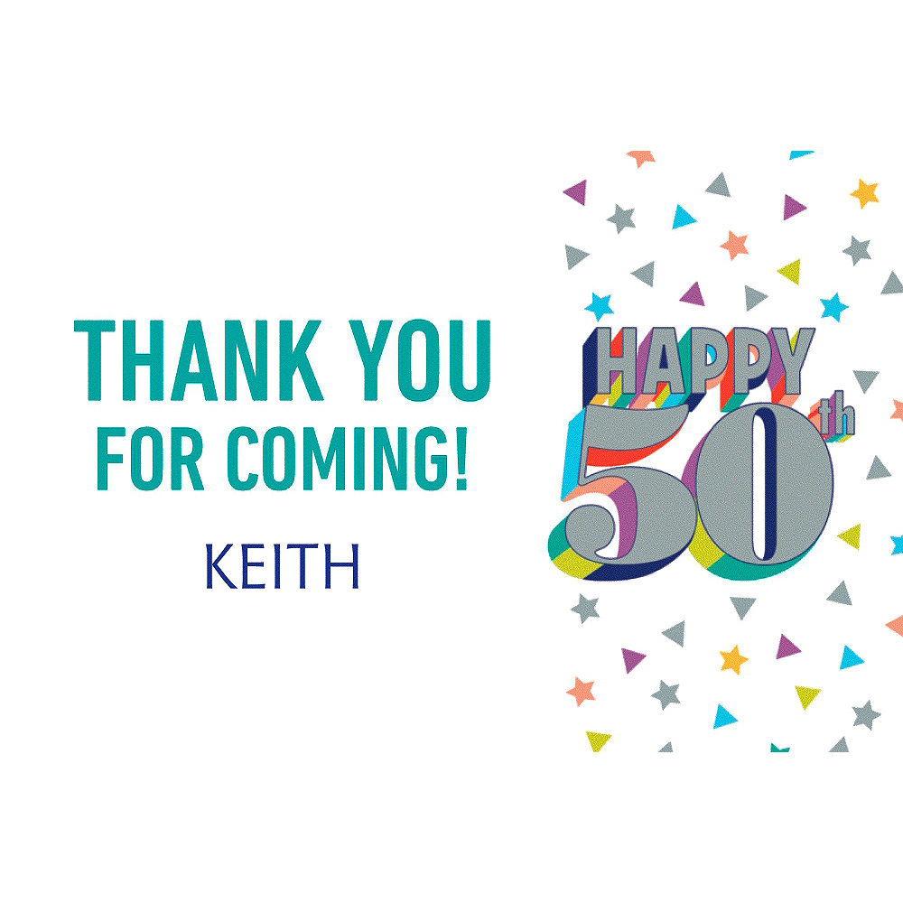 Custom Here's to Your Birthday 50 Thank You Note Image #1