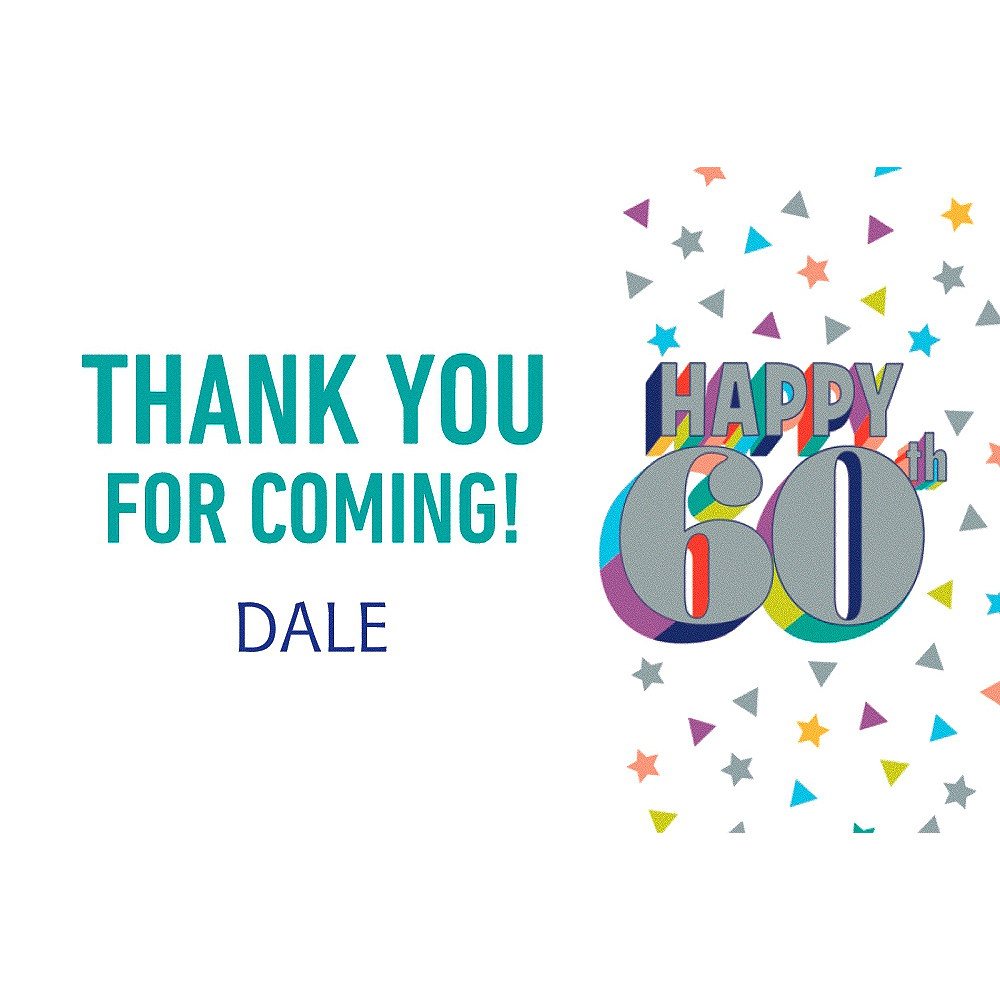 Custom Here's to Your Birthday 60 Thank You Note Image #1