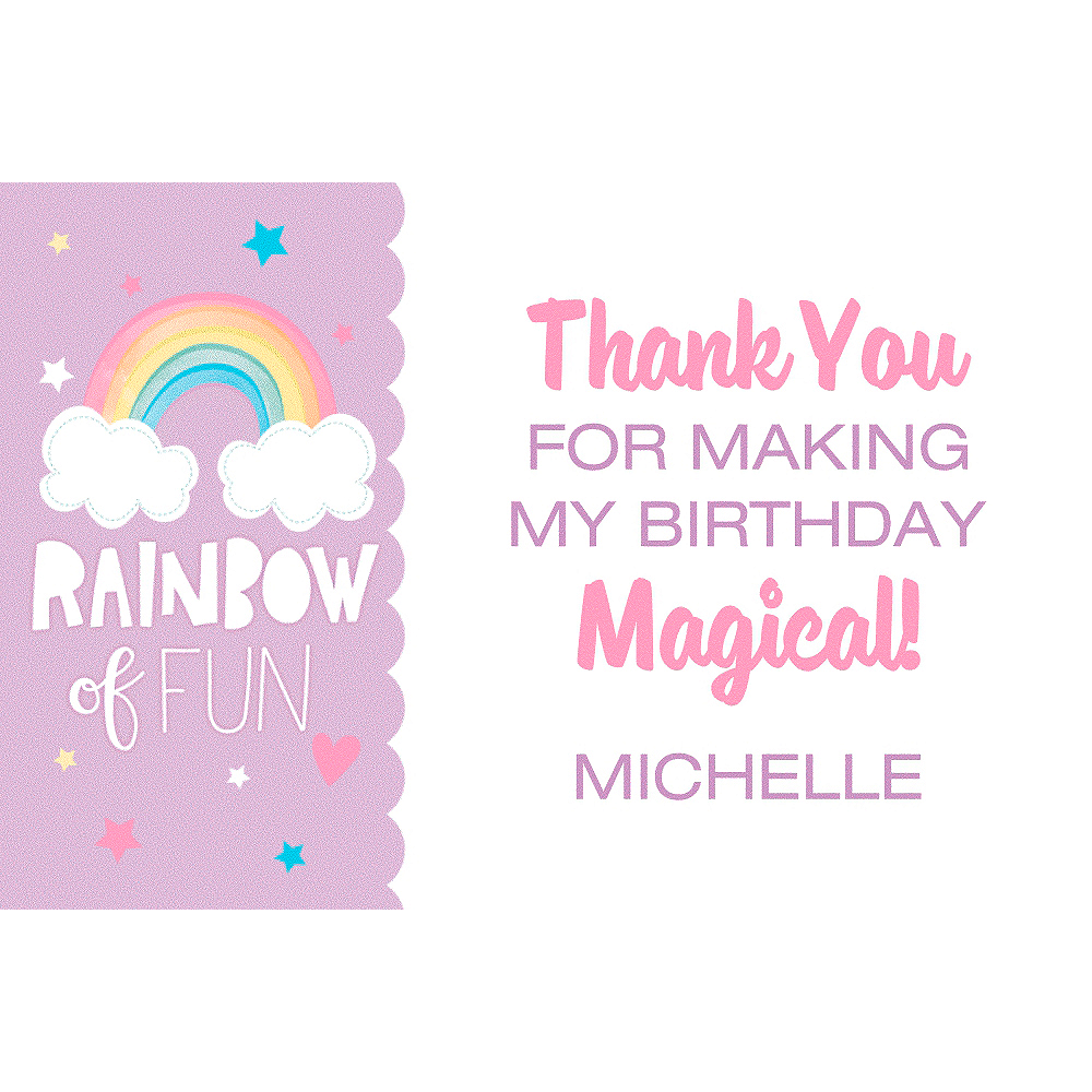 Custom Magical Rainbow Birthday Thank You Note Image #1