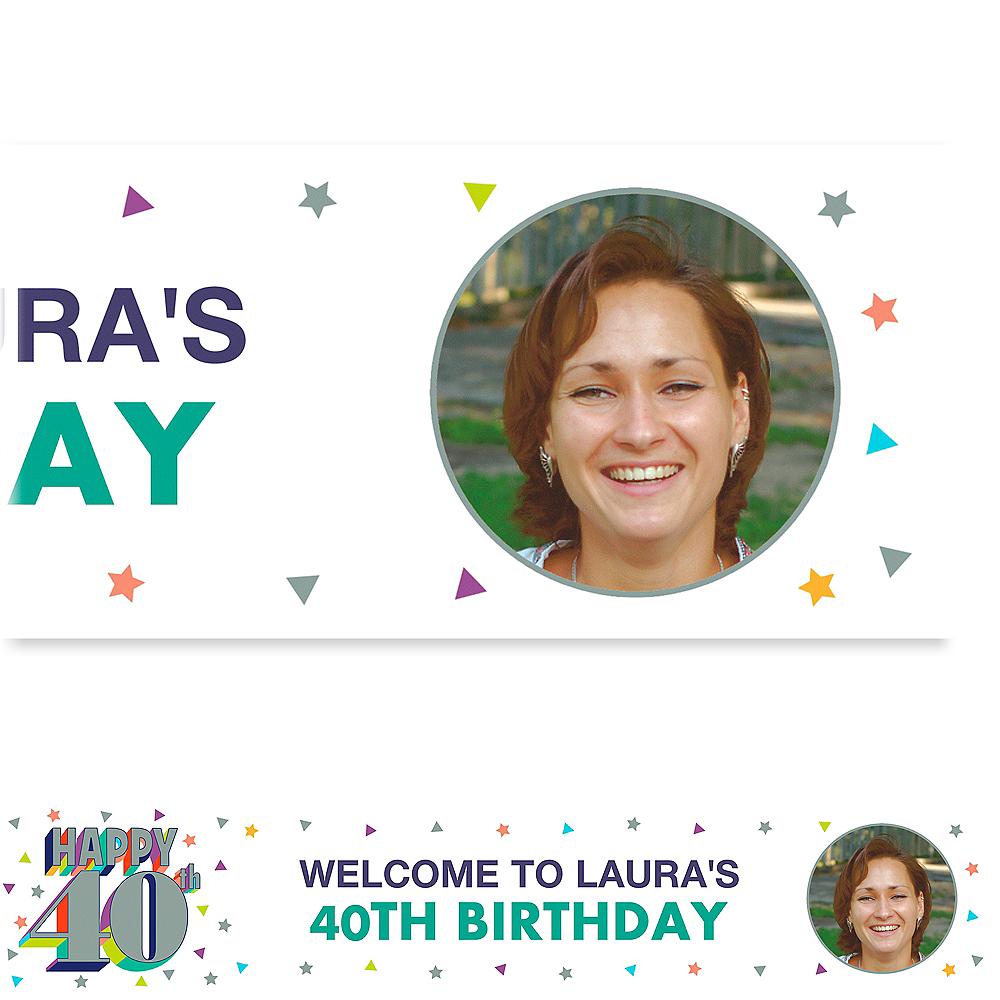 Custom Here's to Your Birthday 40 Photo Banner Image #1
