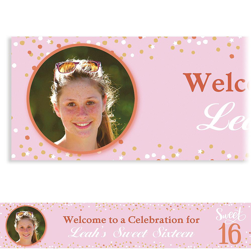 Custom Blush Sweet 16 Photo Banner Image #1