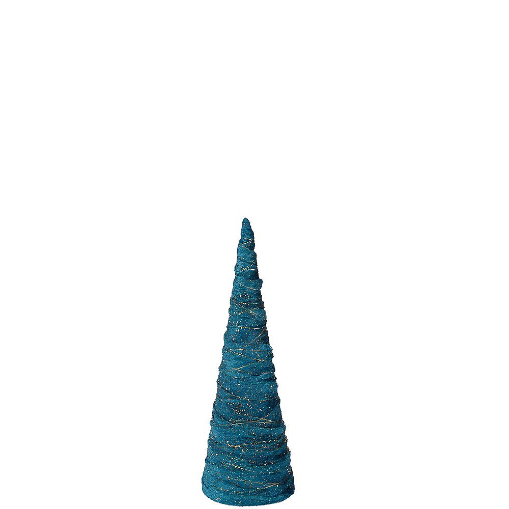 Small Glitter Teal Christmas Tree Image #1