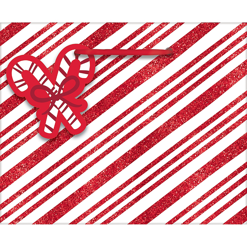 Mini Glitter Candy Cane Stripe Glossy Gift Bag Image #1