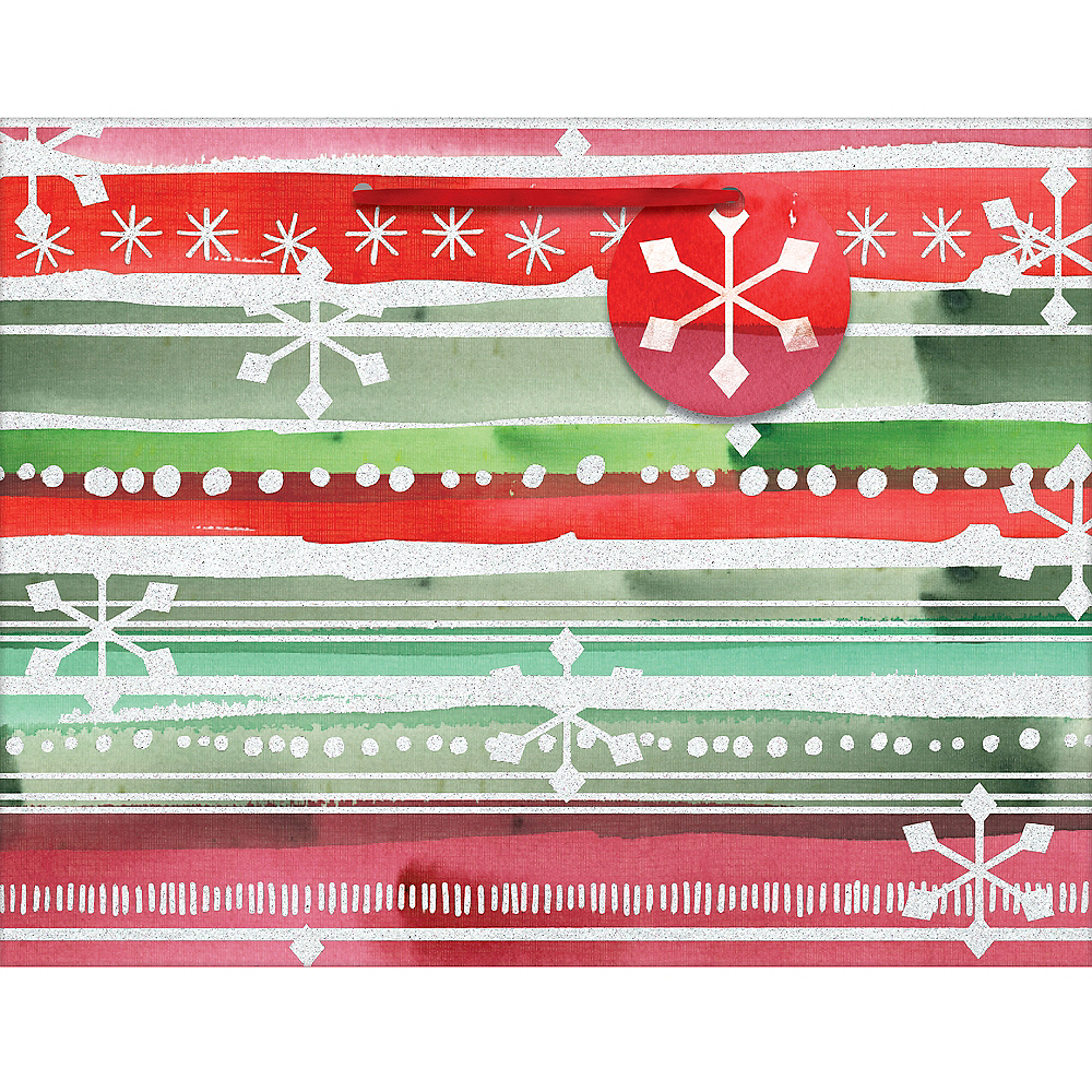 Small Green & Red Watercolor Stripe Glossy Gift Bag Image #1