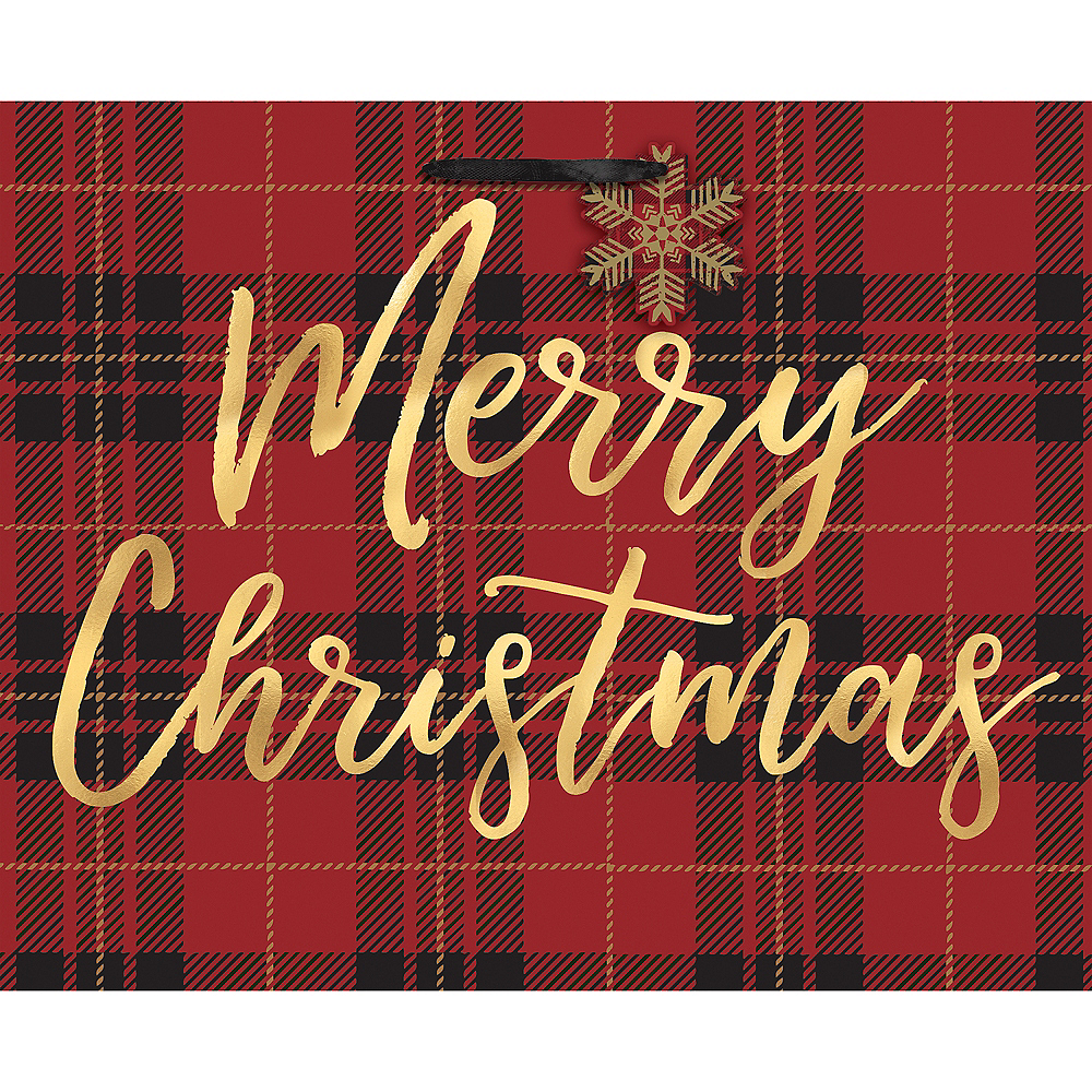 Medium Plaid Merry Christmas Paper Gift Bag Image #1