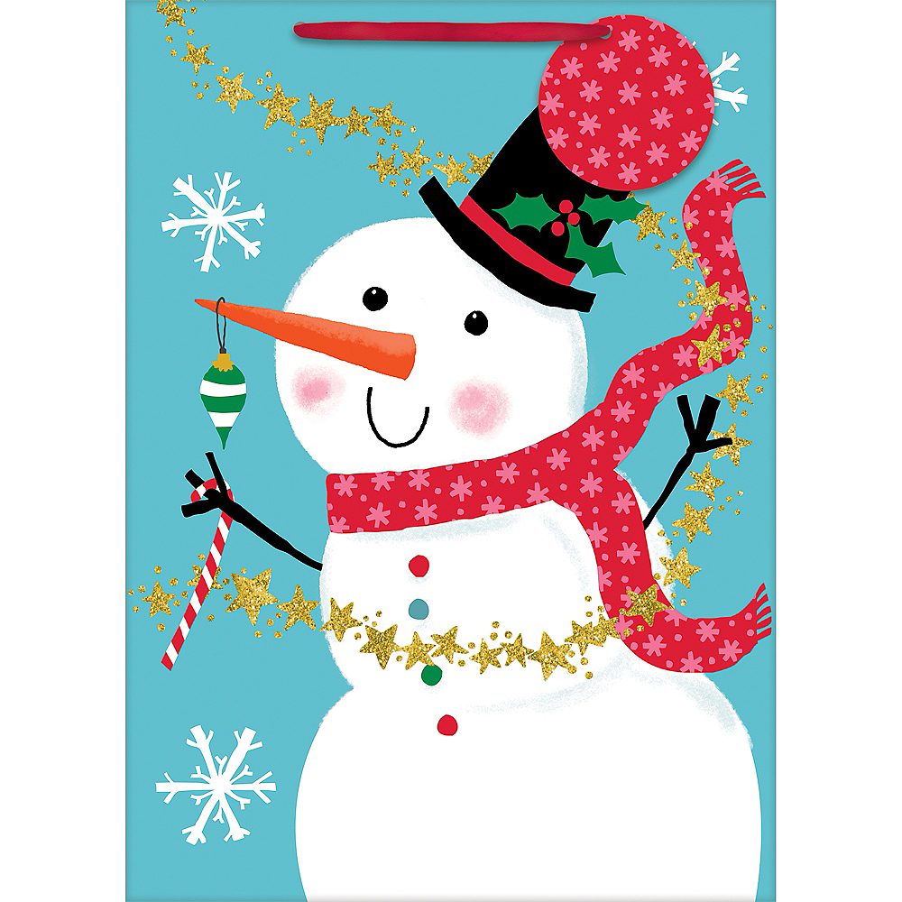 Nav Item for Large Jolly Snowman Glossy Gift Bag Image #1