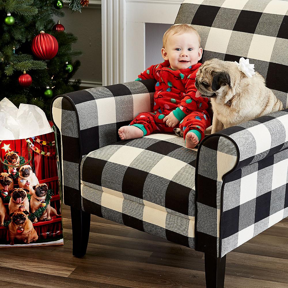 Large Pug Tree Glossy Gift Bag Image #2