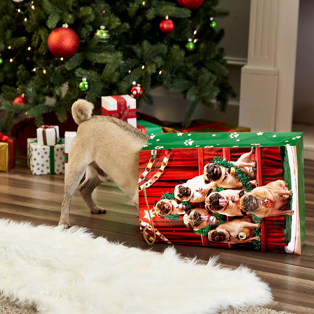 Large Pug Tree Glossy Gift Bag Image #3