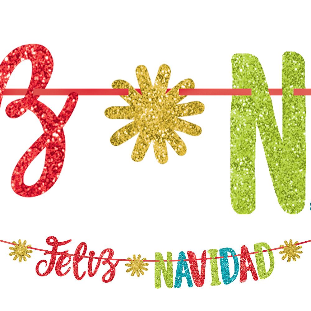 Colorful Glitter Feliz Navidad Letter Banner Image #1