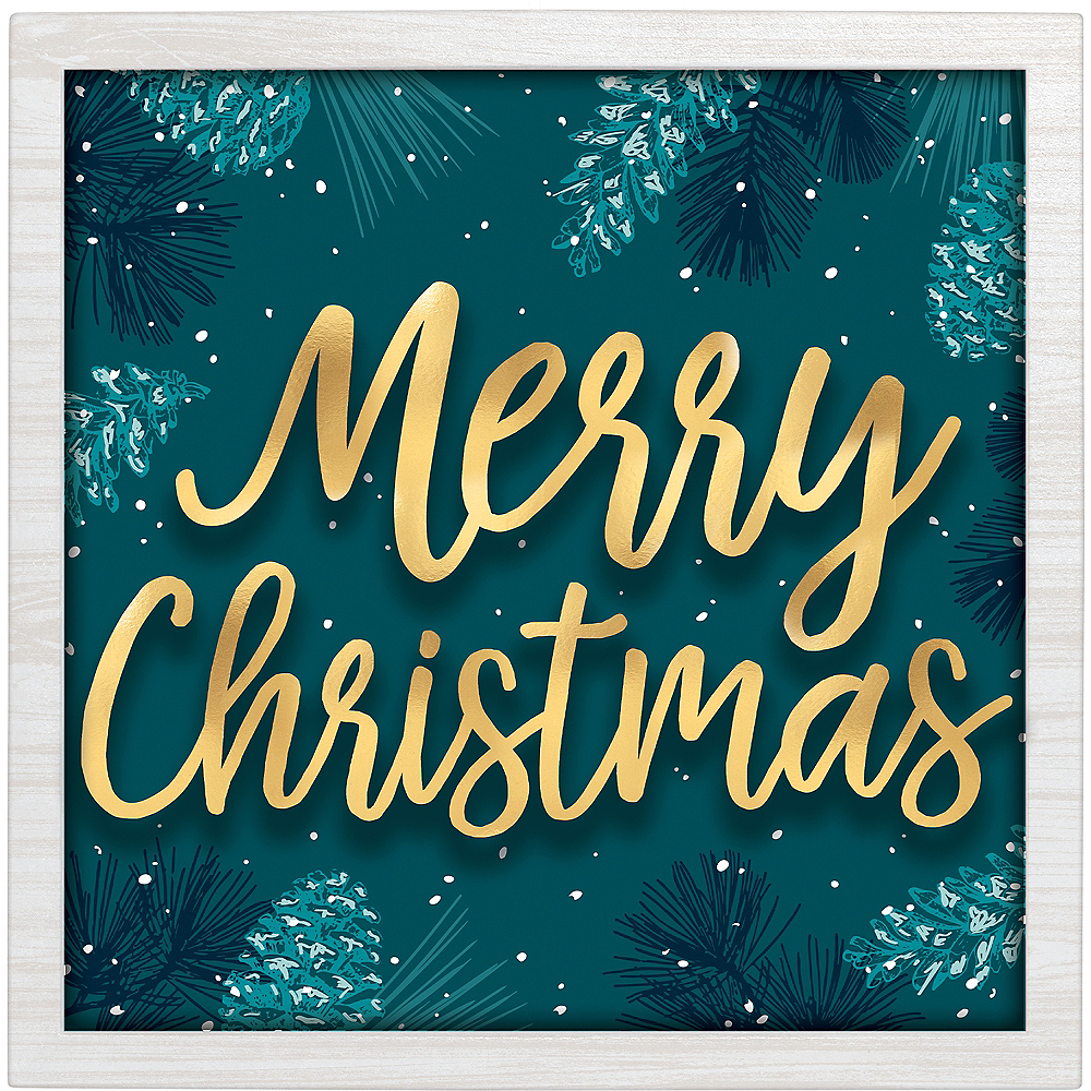 Teal Very Merry Christmas Block Sign Image #1