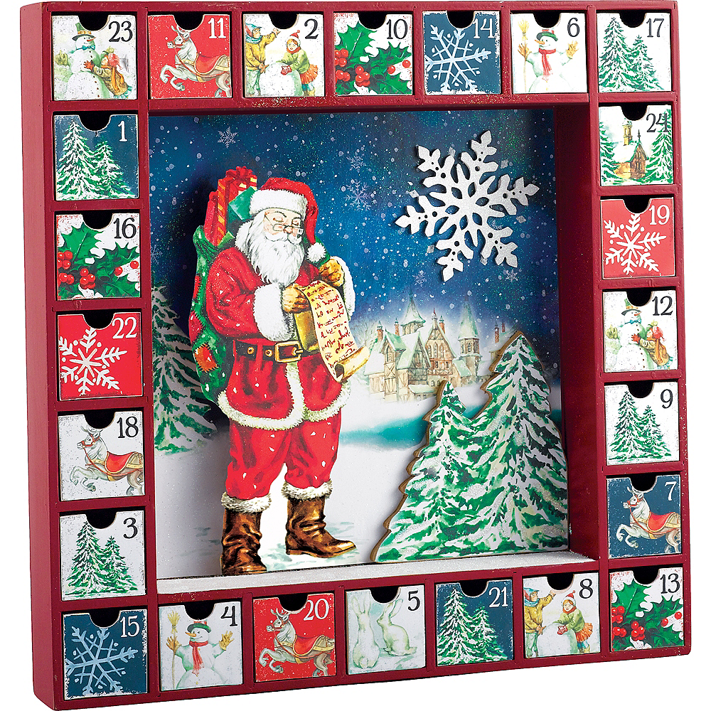 Santa Claus Fiberboard Advent Calendar Box Image #1