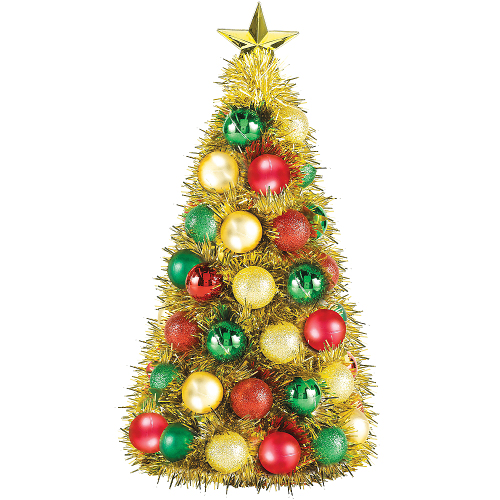 Gold, Green & Red Tinsel Ornament Tree Image #1