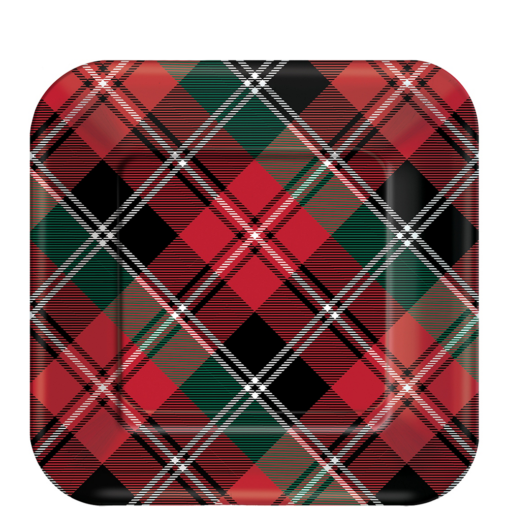 Holiday Plaid Dessert Plates 40ct Image #1