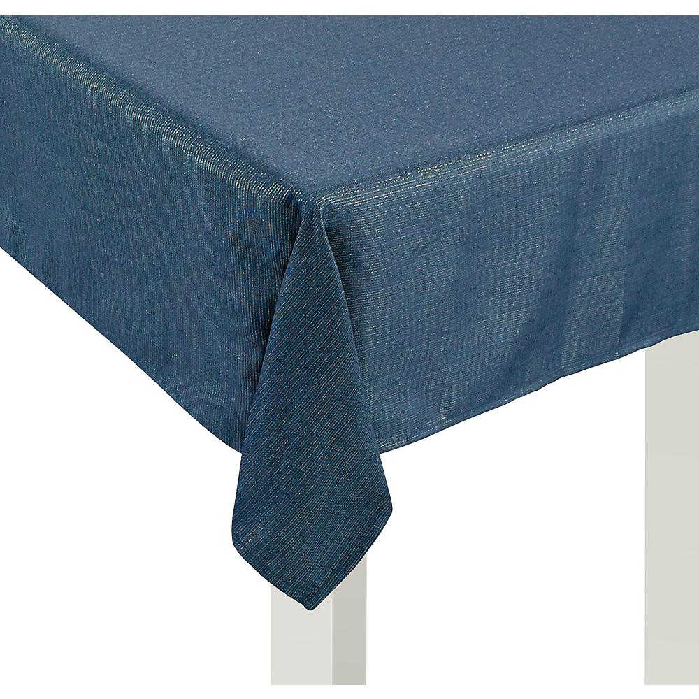 Metallic Teal Fabric Tablecloth Image #1
