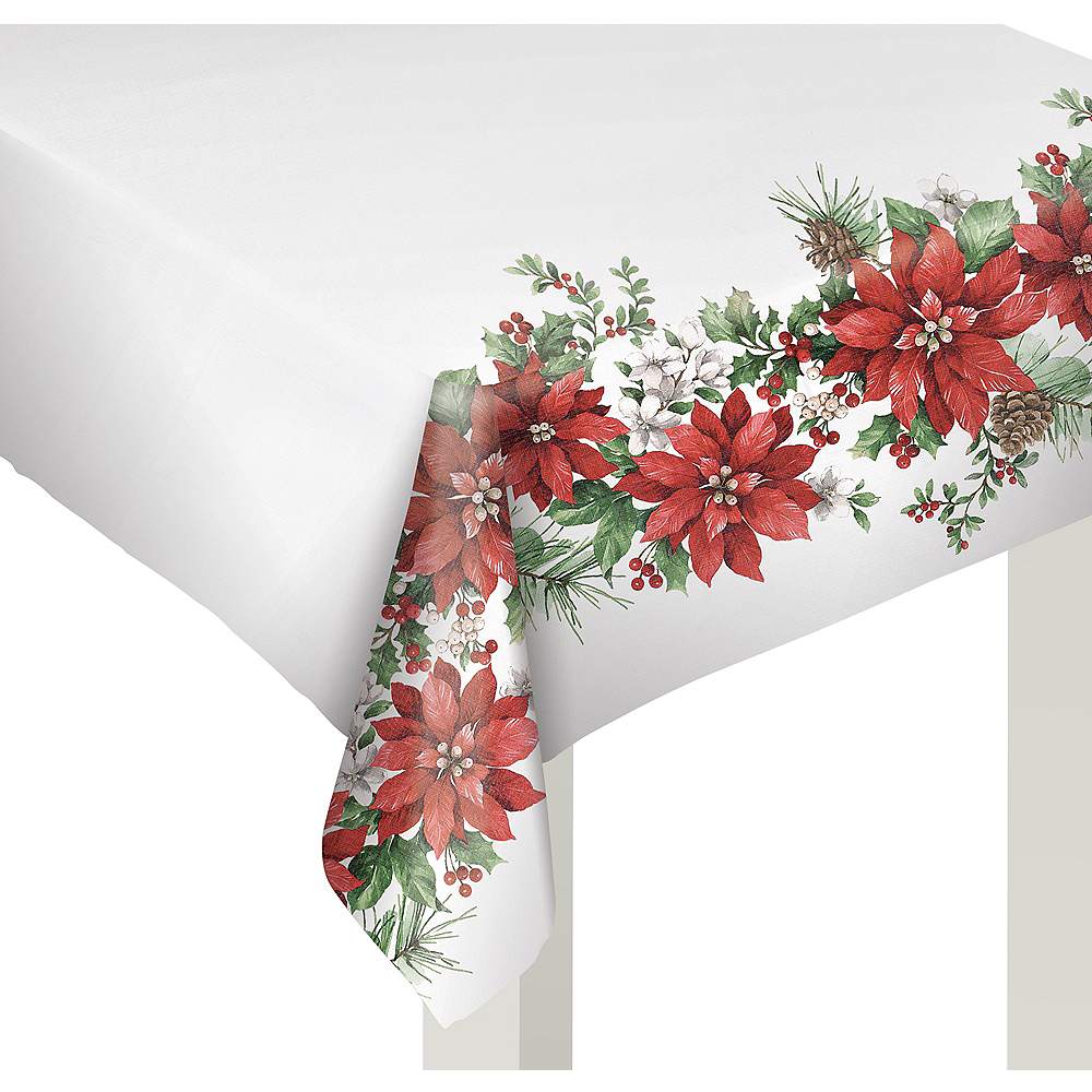 Glorious Poinsettia Table Cover 60in X 80in Party City