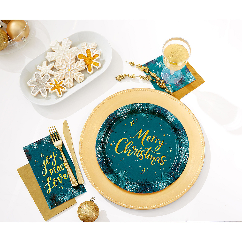 Teal Very Merry Beverage Napkins 16ct Image #2