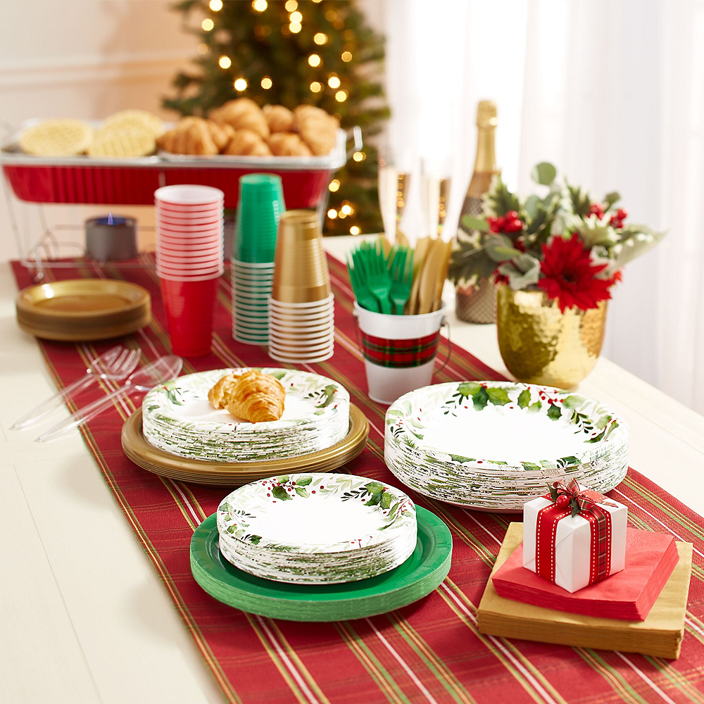 Traditional Holly Dessert Plates 40ct Image #3